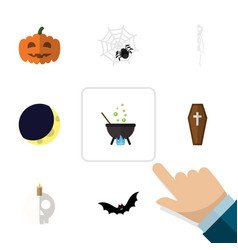 Flat icon halloween set of casket crescent magic vector