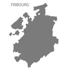 Fribourg switzerland map grey vector
