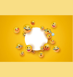 Fun yellow emoji icon white circle frame template vector