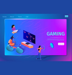 gaming virtual reality people play video game vector image
