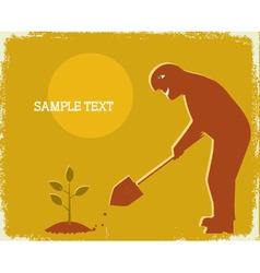 gardener digging vector image