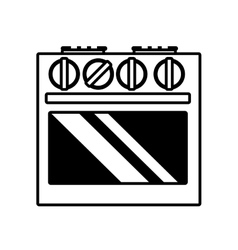Gas stove appliance kitchen home outline vector