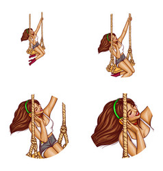 girl on swing in headphones avatar vector image