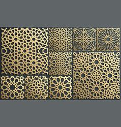 Gold ornament on black islamic pattern set vector