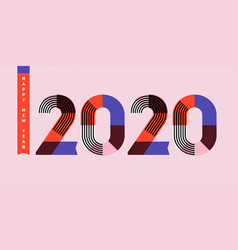 Happy new year 2020 design with abstract numbers vector