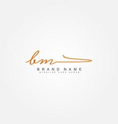 Initial letter bm logo - hand drawn signature logo vector