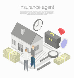 Insurance agent concept background isometric vector