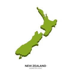 Isometric map of New Zealand detailed vector image