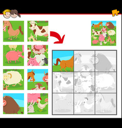 jigsaw puzzles with farm animals vector image