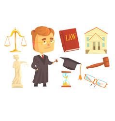 judge and attributes judicial activity set vector image