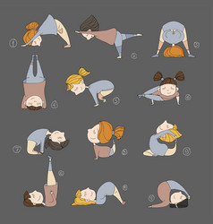 Kids doing yoga vector