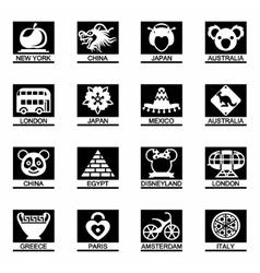 landmarks icon set vector image