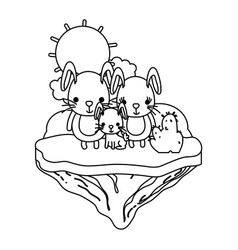 line family rabbit animal in the float island vector image