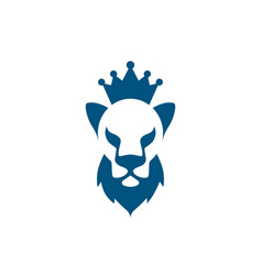Lion head with beard and crown icon vector