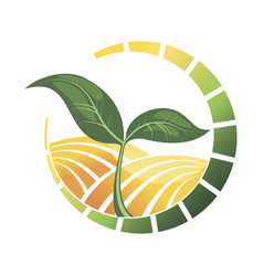 Logotype agriculture logo with a field of vector