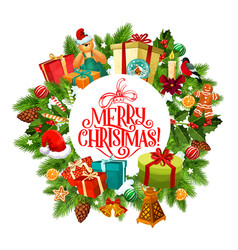 merry christmas wreath of fir and gifts vector image