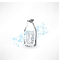 milk bottle grunge icon vector image
