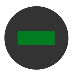 Minus flat green and gray colors round button vector
