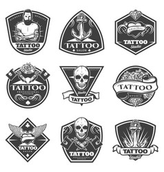 Monochrome tattoo salon labels set vector