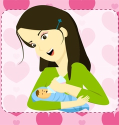 Mother holding her baby and bottle feeding vector image