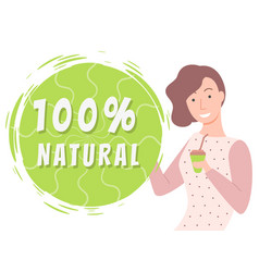 Natural products organic food woman with tea cup vector