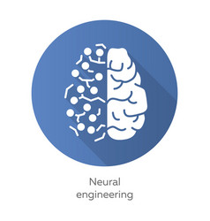 Neural engineering blue flat design long shadow vector