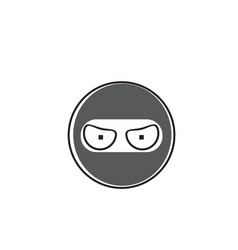 ninja cartoon face wear mask people emotion icon vector image