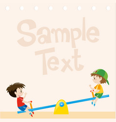 Paper design with boys on seesaw vector