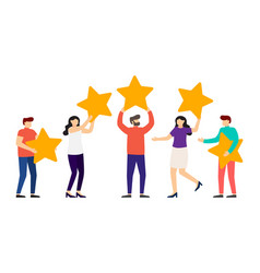 people are holding stars over heads feedback vector image