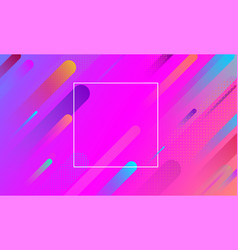 Pink background with frame and colorful geometric vector