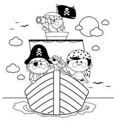 pirates sailing on a ship at sea vector image