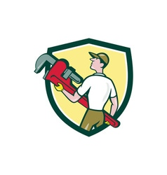 Plumber Carry Monkey Wrench Walking Crest Cartoon vector image
