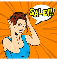 Pop art surprised woman face with smile and a sale vector