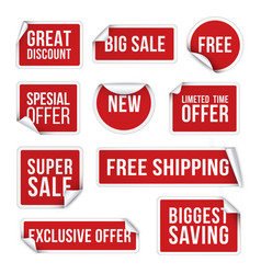 sale stickers promotional labels realistic vector image