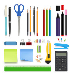 school stationery pencil sharp pen eraser vector image