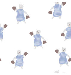 Seamless pattern with cute bear circus childish vector