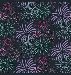 seamless pattern with hand drawn fireworks vector image