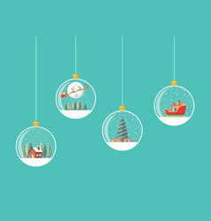 set merry christmas hanging light bulbs vector image