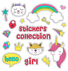 Set of isolated stickers for girl vector