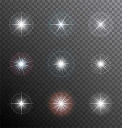 Shining stars or other bright light sources with a vector
