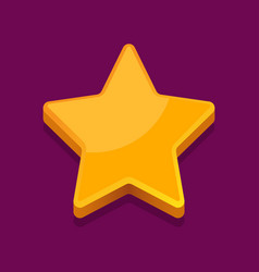 shiny golden star icon on purple background vector image