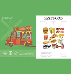 sketch fast food concept vector image