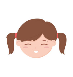 Smiling little girl face cartoon character icon vector