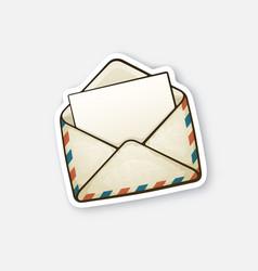 Sticker opened vintage envelope vector