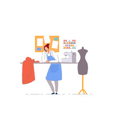 Tailor shop business owner isolated dressmaker vector