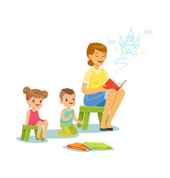 teacher reading a fairytale to kids in preschool vector image vector image