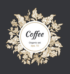 template coffee circle branch vector image