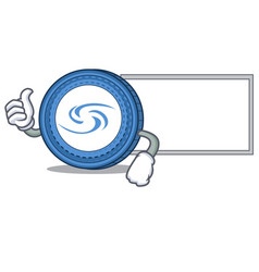Thumbs up with board syscoin character cartoon vector