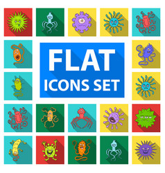 Types of funny microbes flat icons in set vector