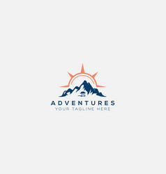 Vans adventure mountain and compass sun logo vector
